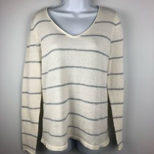 Old Navy Size M Womens White Gray Striped Sweater